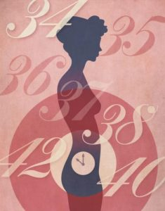 Vintage poster style illustration of woman silhouette with clock ticking away in her abdomen