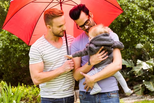 smiling gay couple with child in garden-img-blog