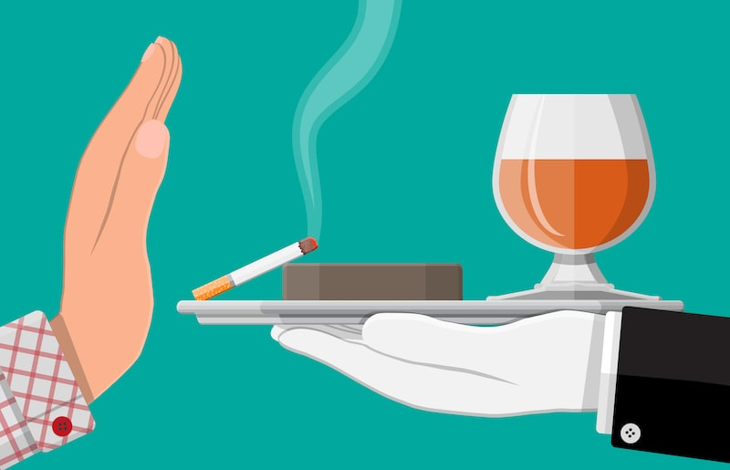 An illustration of a hand rejecting offered alcohol and cigarettes.